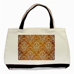 Damask1 White Marble & Yellow Grunge Basic Tote Bag by trendistuff
