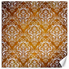 Damask1 White Marble & Yellow Grunge Canvas 20  X 20   by trendistuff