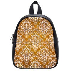 Damask1 White Marble & Yellow Grunge School Bag (small) by trendistuff