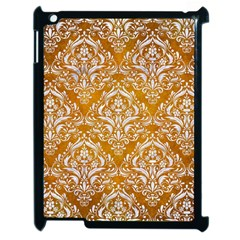 Damask1 White Marble & Yellow Grunge Apple Ipad 2 Case (black) by trendistuff