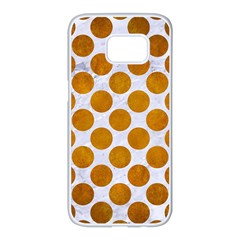Circles2 White Marble & Yellow Grunge (r) Samsung Galaxy S7 Edge White Seamless Case by trendistuff