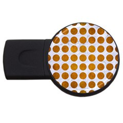 Circles1 White Marble & Yellow Grunge (r) Usb Flash Drive Round (2 Gb) by trendistuff