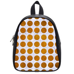 Circles1 White Marble & Yellow Grunge (r) School Bag (small) by trendistuff