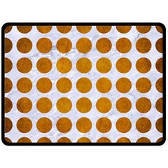 Circles1 White Marble & Yellow Grunge (r) Double Sided Fleece Blanket (large)  by trendistuff