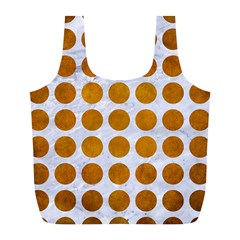Circles1 White Marble & Yellow Grunge (r) Full Print Recycle Bags (l)  by trendistuff