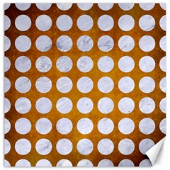 Circles1 White Marble & Yellow Grunge Canvas 20  X 20   by trendistuff