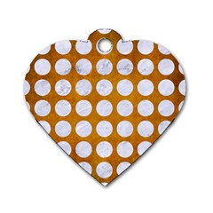 Circles1 White Marble & Yellow Grunge Dog Tag Heart (two Sides) by trendistuff