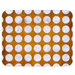 Circles1 White Marble & Yellow Grunge Double Sided Flano Blanket (medium)  by trendistuff