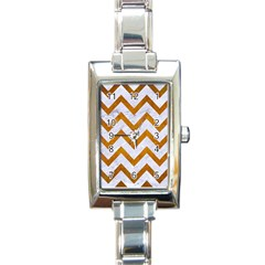 Chevron9 White Marble & Yellow Grunge (r) Rectangle Italian Charm Watch by trendistuff