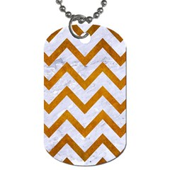 Chevron9 White Marble & Yellow Grunge (r) Dog Tag (one Side) by trendistuff