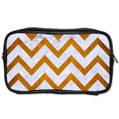 Chevron9 White Marble & Yellow Grunge (r) Toiletries Bags 2 Side by trendistuff