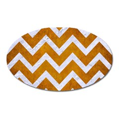 Chevron9 White Marble & Yellow Grunge Oval Magnet
