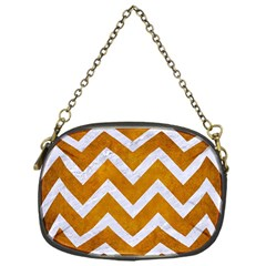 Chevron9 White Marble & Yellow Grunge Chain Purses (one Side)  by trendistuff