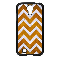 Chevron9 White Marble & Yellow Grunge Samsung Galaxy S4 I9500/ I9505 Case (black) by trendistuff