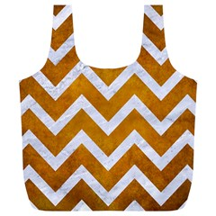 Chevron9 White Marble & Yellow Grunge Full Print Recycle Bags (l)  by trendistuff