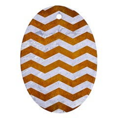Chevron3 White Marble & Yellow Grunge Ornament (oval) by trendistuff