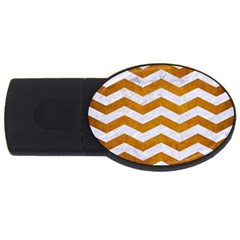 Chevron3 White Marble & Yellow Grunge Usb Flash Drive Oval (2 Gb) by trendistuff