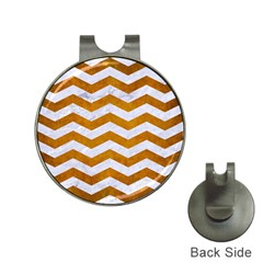 Chevron3 White Marble & Yellow Grunge Hat Clips With Golf Markers by trendistuff