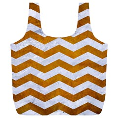 Chevron3 White Marble & Yellow Grunge Full Print Recycle Bags (l)  by trendistuff