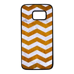 Chevron3 White Marble & Yellow Grunge Samsung Galaxy S7 Black Seamless Case by trendistuff