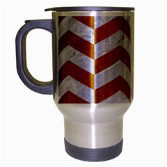 Chevron2 White Marble & Yellow Grunge Travel Mug (silver Gray) by trendistuff