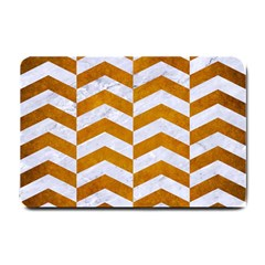 Chevron2 White Marble & Yellow Grunge Small Doormat  by trendistuff