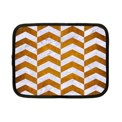 Chevron2 White Marble & Yellow Grunge Netbook Case (small)  by trendistuff