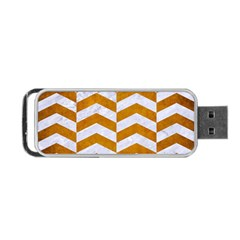 Chevron2 White Marble & Yellow Grunge Portable Usb Flash (one Side) by trendistuff