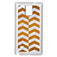 Chevron2 White Marble & Yellow Grunge Samsung Galaxy Note 4 Case (white) by trendistuff