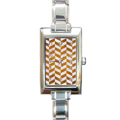 Chevron1 White Marble & Yellow Grunge Rectangle Italian Charm Watch by trendistuff
