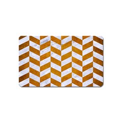 Chevron1 White Marble & Yellow Grunge Magnet (name Card) by trendistuff