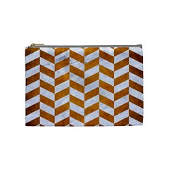 Chevron1 White Marble & Yellow Grunge Cosmetic Bag (medium)  by trendistuff