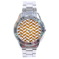 Chevron1 White Marble & Yellow Grunge Stainless Steel Analogue Watch by trendistuff