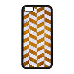 Chevron1 White Marble & Yellow Grunge Apple Iphone 5c Seamless Case (black) by trendistuff