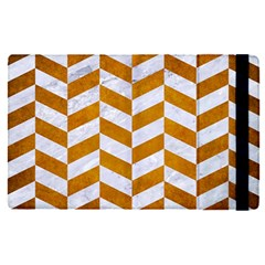 Chevron1 White Marble & Yellow Grunge Apple Ipad Pro 12 9   Flip Case by trendistuff