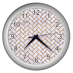 Brick2 White Marble & Yellow Grunge (r) Wall Clocks (silver)  by trendistuff