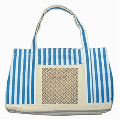Brick2 White Marble & Yellow Grunge (r) Striped Blue Tote Bag by trendistuff