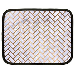Brick2 White Marble & Yellow Grunge (r) Netbook Case (large) by trendistuff
