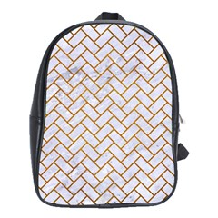 Brick2 White Marble & Yellow Grunge (r) School Bag (xl) by trendistuff