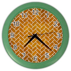 Brick2 White Marble & Yellow Grunge Color Wall Clocks by trendistuff