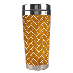 Brick2 White Marble & Yellow Grunge Stainless Steel Travel Tumblers by trendistuff