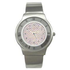 Brick1 White Marble & Yellow Grunge (r) Stainless Steel Watch by trendistuff