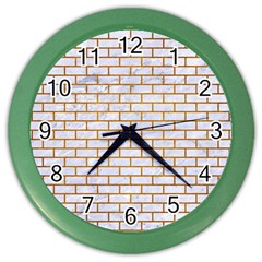 Brick1 White Marble & Yellow Grunge (r) Color Wall Clocks by trendistuff