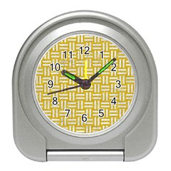 Woven1 White Marble & Yellow Denim Travel Alarm Clocks by trendistuff