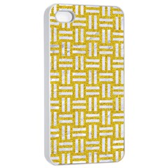 Woven1 White Marble & Yellow Denim Apple Iphone 4/4s Seamless Case (white) by trendistuff