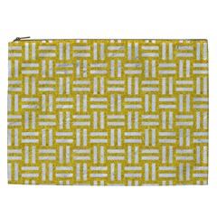 Woven1 White Marble & Yellow Denim Cosmetic Bag (xxl)  by trendistuff