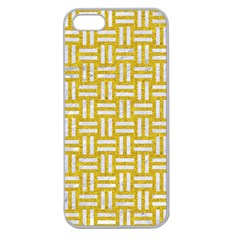Woven1 White Marble & Yellow Denim Apple Seamless Iphone 5 Case (clear) by trendistuff