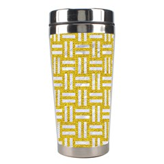Woven1 White Marble & Yellow Denim Stainless Steel Travel Tumblers by trendistuff