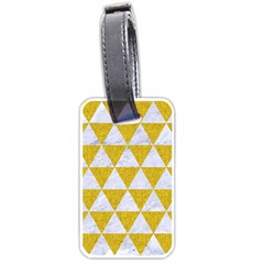 Triangle3 White Marble & Yellow Denim Luggage Tags (two Sides) by trendistuff