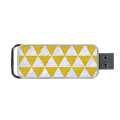 Triangle3 White Marble & Yellow Denim Portable Usb Flash (one Side) by trendistuff